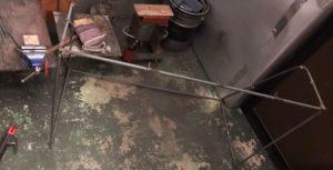 鋳型鉄筋を切って溶接して作ったサッカーゴール